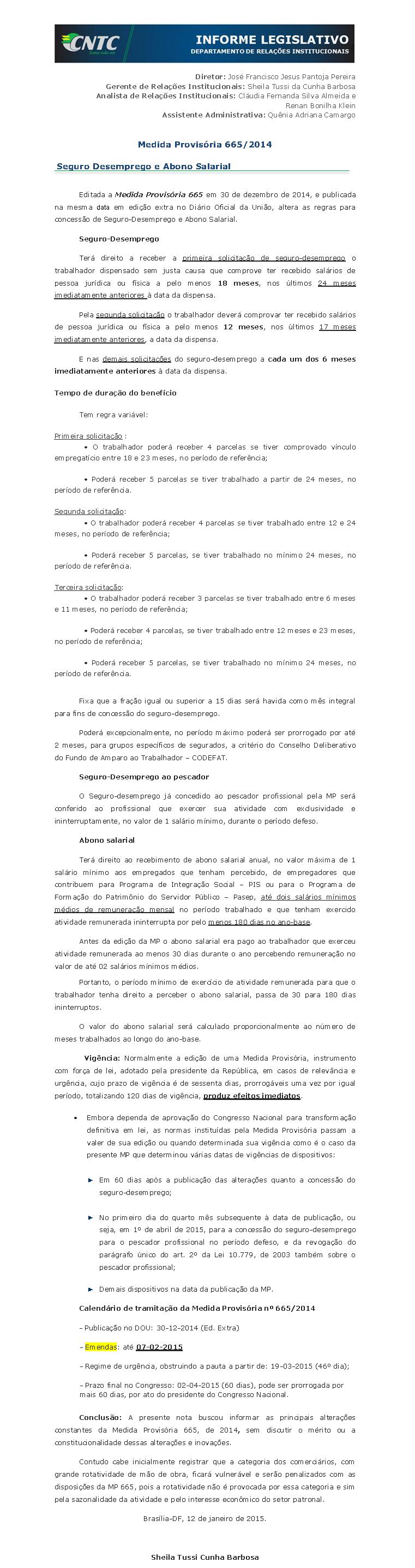 Relatório MP 665-14