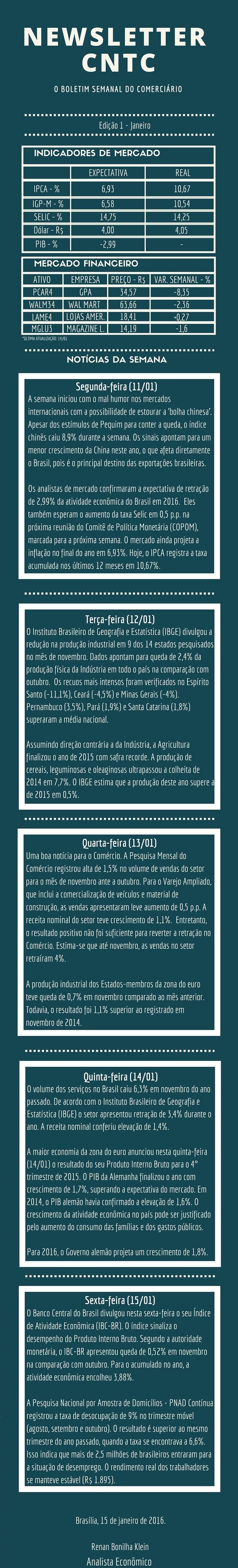 Newsletter CNTC - Edição 1 - Janeiro